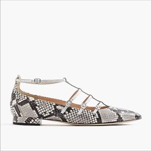 J Crew | Snakeskin Caged Leather Flats